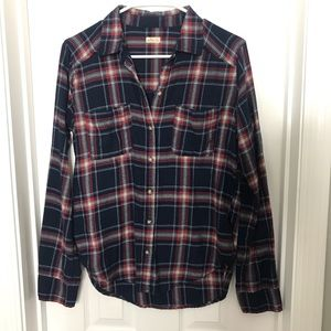 Hollister Navy and Red Button Down Flannel Shirt
